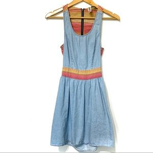 Mimi chica chambray striped dress back cut out